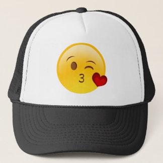 Blow a kiss emoji sticker trucker hat