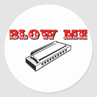 Blow Me = Mouth Organ or Harmonica Round Sticker