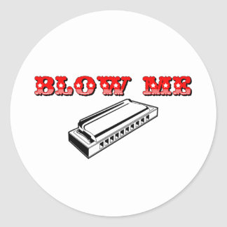 Blow Me Mouth Organ or Harmonica Sticker