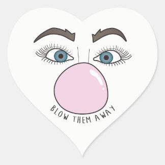Blow Them Away in Hearts Heart Sticker