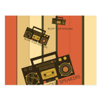 Blow your speakers - awesome retro boombox postcard