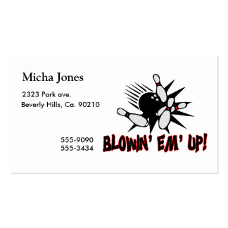 Blowin Em Up Bowling Pins Double-Sided Standard Business Cards (Pack Of 100)
