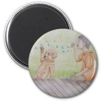Blowing bubbles 6 cm round magnet