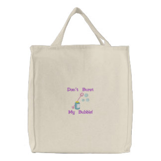 Blowing Bubbles, Don't Burst My Bubble! Embroidered Tote Bag