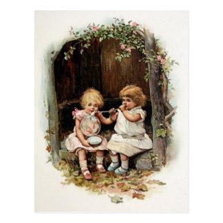 Blowing Bubbles Vintage Girls Postcard