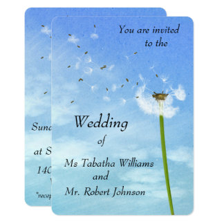 Blowing Dandelion Seeds Print Wedding Invitation