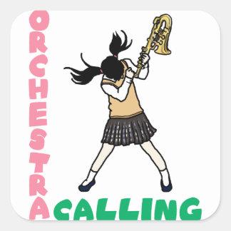 Blowing easy crash _saxophone square sticker