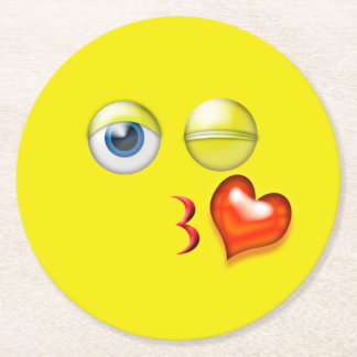 Blowing Kiss Emoji Round Paper Coaster