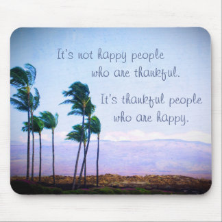 """Blowing palm trees """"thankful"""" quote photo mousepad"""