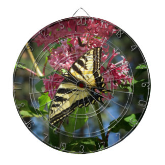 Blsck and Yellow Butterfly and Lilacs Dart Boards
