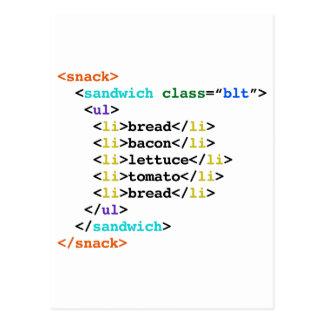 BLT HTML Funny Geek Sandwich Postcard