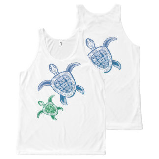 Blu and Green Sea Turtles All-Over Print Singlet