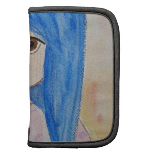Blu girl, cute big eyed pois lilac blu hair folio planner