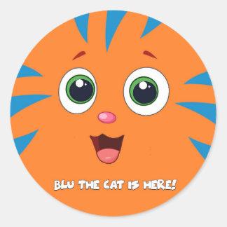 Blu The Cat Round Sticker