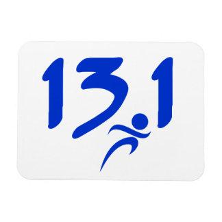Blue 13.1 half-marathon rectangular photo magnet