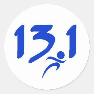 Blue 13.1 half-marathon round sticker