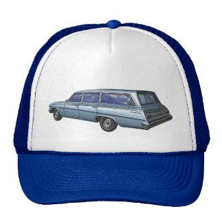 Blue 1962 Chevrolet station wagon. Cap