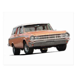 Blue 1964 Dodge station wagon. Postcard