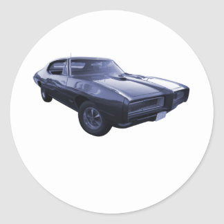 Blue 1968 Pontiac GTO Round Sticker