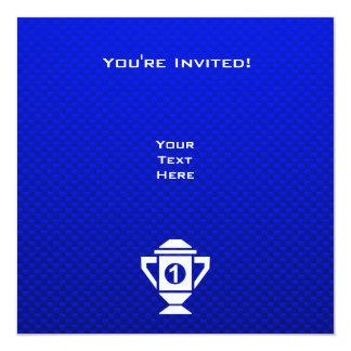 Blue 1st Place Trophy 13 Cm X 13 Cm Square Invitation Card