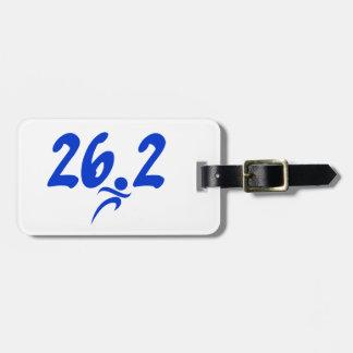 Blue 26.2 marathon luggage tag