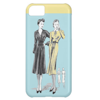 Blue 2 ladies vintage fashion designer print iPhone 5C case