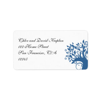 Blue 369 Wedding Address Label Tree