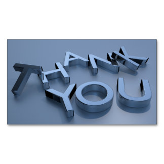 Blue 3D Thank You Custom Magnetic Cards Pack 25 Magnetic Business Cards
