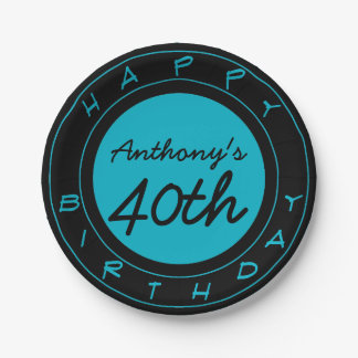 Blue 40th Birthday Party Personalized Paper Plates 7 Inch Paper Plate