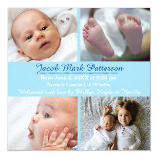 Blue 4 Photos - Birth Announcement