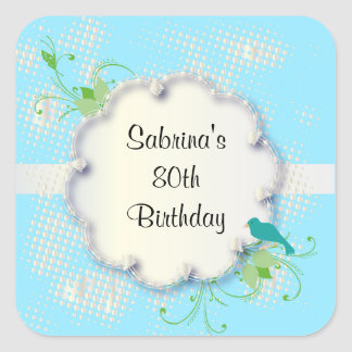 Blue 80th Birthday Party | DIY Text Square Sticker