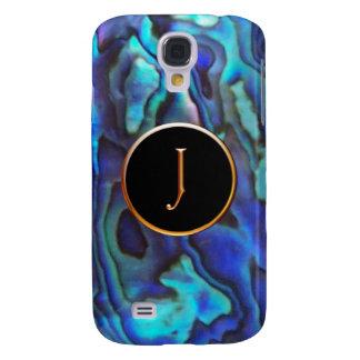 Blue Abalone with Gold Harrington J Monogram Galaxy S4 Cases