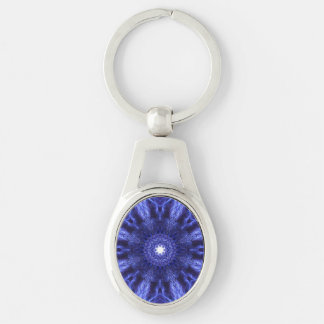 Blue Abstract Ancient Art Silver-Colored Oval Key Ring
