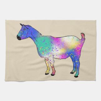 Blue Abstract Art Goat Colourful Animal Design Tea Towel