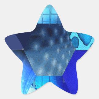 Blue Abstract Art Star Sticker