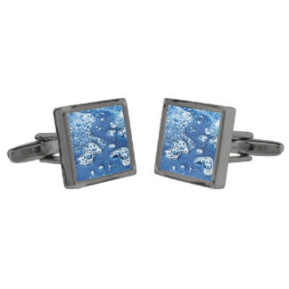 Blue Abstract Bubbles Water and Ice Cufflinks Gunmetal Finish Cuff Links