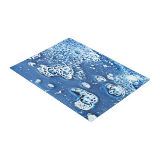 Blue Abstract Bubbles Water and Ice Door Mat