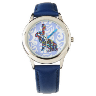 Blue Abstract Bunny Watch