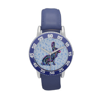 Blue Abstract Bunny With Blue Background Watch