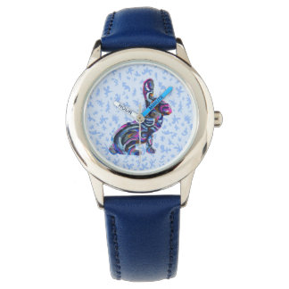 Blue Abstract Bunny With Blue Background Wrist Watches