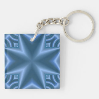 Blue abstract cross square acrylic key chains