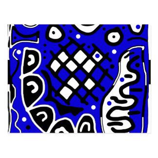 Blue abstract design postcard