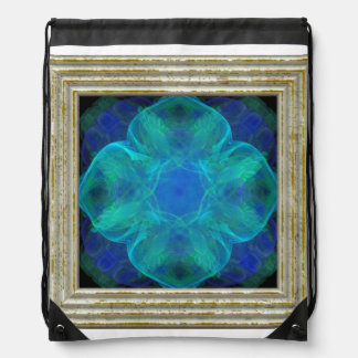 Blue Abstract Flower Drawstring Bag