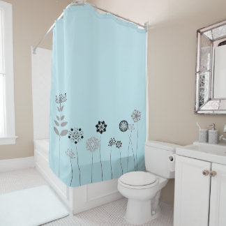 blue Abstract flower garden Shower Curtain