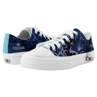 Blue Abstract Flowers Low Tops