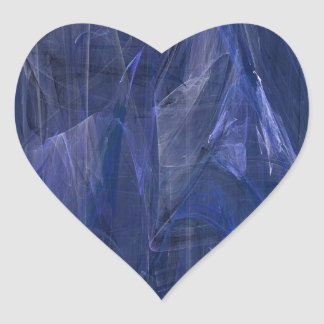 Blue Abstract Fractal Heart Sticker