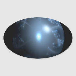 Blue Abstract Globe Oval Stickers