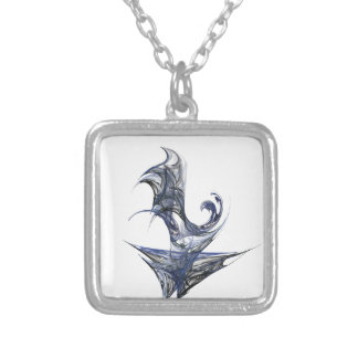Blue Abstract Graphic Silver Plated Necklace
