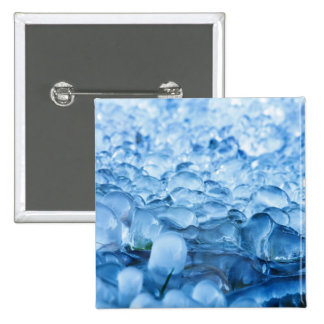 Blue Abstract Ice Crystals Water Drops Pinback Button