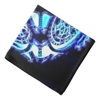 Blue abstract lights black, fantasy portal pattern bandanas